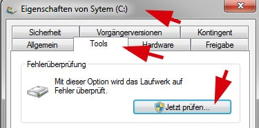 Checkdisk chkdsk ausführen Windows 7 Vista